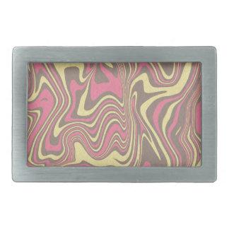 Abstract liquid pattern rectangular belt buckle