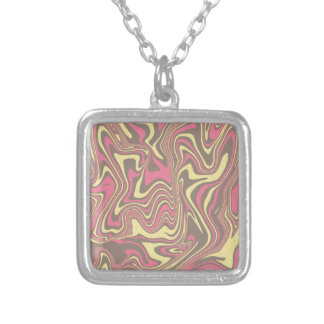 Abstract liquid pattern silver plated necklace