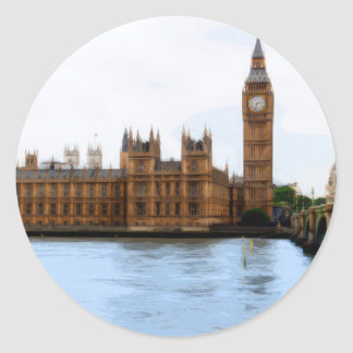 abstract london - westminster classic round sticker