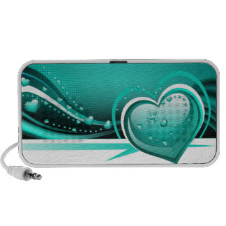 abstract love aqua hearts mini speakers