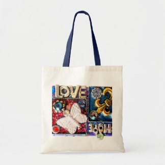 Abstract Love Retro Collage Design Vintage Tote Bag