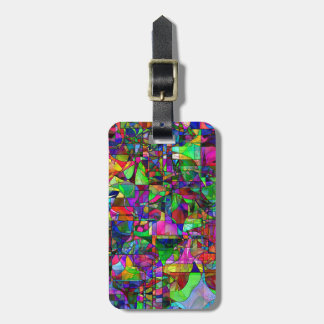 Abstract Luggage Tag w/ leather strap