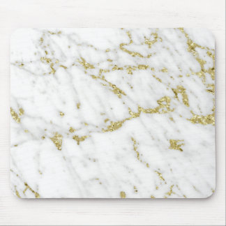 Abstract Lux Glam Gold White Gray Carrara Marble Mouse Pad