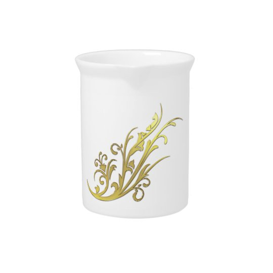 Abstract Luxury Faux Gold Flower Pitcher