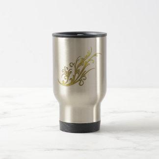 Abstract Luxury Gold Flower Travel Mug