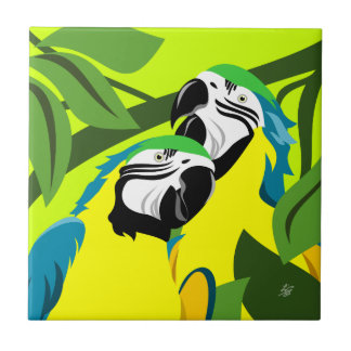 Abstract Macaw Parrot Art Tile