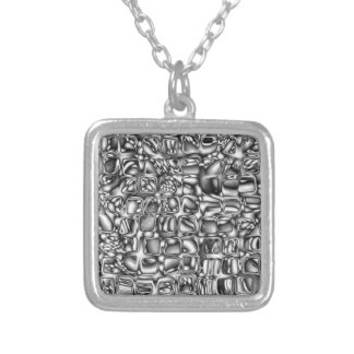 Abstract Macro Shapes Silver Plated Necklace