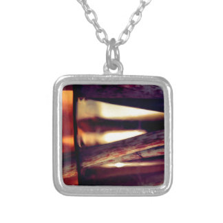 Abstract macro silver plated necklace
