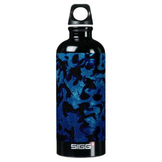 Abstract Magic - Navy Blue Grunge Black Water Bottle