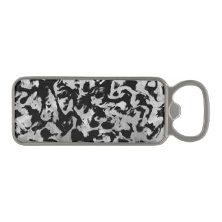 Abstract Magic - Silver Black Magnetic Bottle Opener