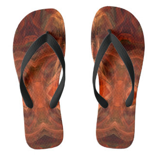 Abstract Mahogany Rust Fractal Pattern FF Flip Flops