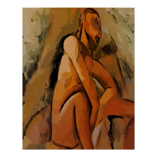 Abstract Man Under Tree Poster