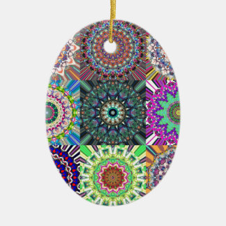 Abstract Mandala Collage Ceramic Oval Ornament