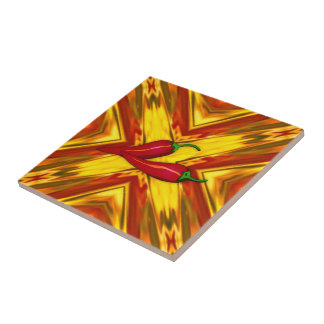 abstract mandala gold red hot spicy peppers tile