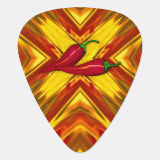 abstract mandala spicy peppers gold red fiery hot guitar pick