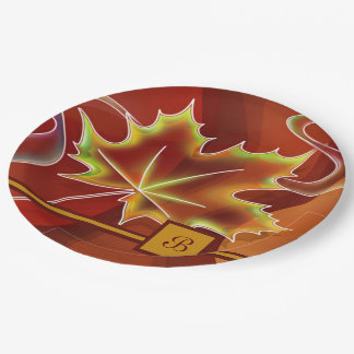 Abstract Maple Leaf Paper Plate