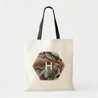Abstract Marbled Faux Gold Magenta Blue Monogram Tote Bag