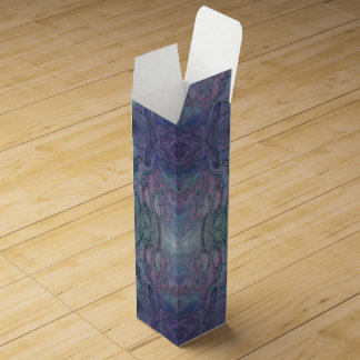 Abstract Marbled Purple Teal Turquoise and Black Wine Bottle Boxes