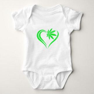 Abstract marijuana heart baby bodysuit