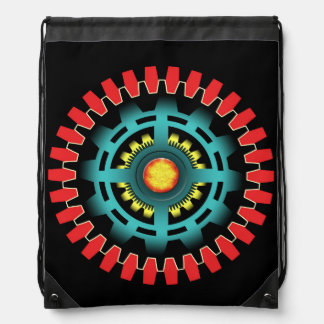 Abstract mechanical object drawstring bag