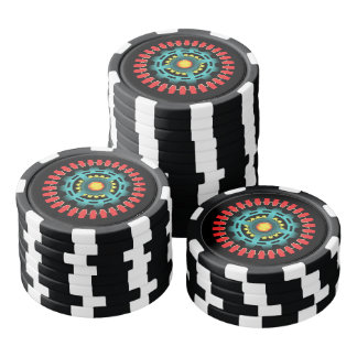 Abstract mechanical object poker chip set