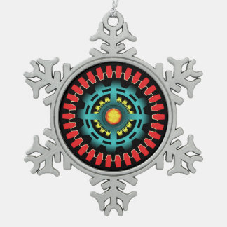Abstract mechanical object snowflake pewter christmas ornament