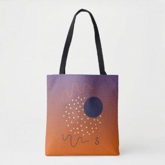 Abstract Memphis Design Purple-Orange Monogram Tote Bag