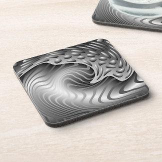 Abstract Metal Print Cork Coaster