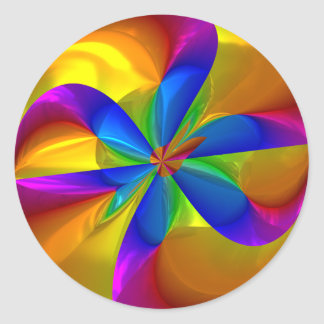 Abstract Metallic Flower Rainbow Color Swirl Classic Round Sticker