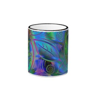 Abstract Metallic Leaves Coffee Mugs