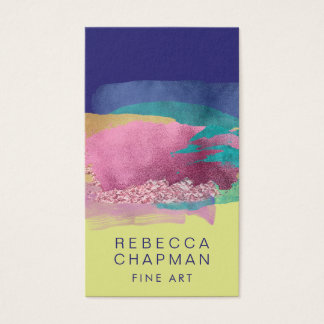Abstract Metallic Paint Brush Strokes Business Card