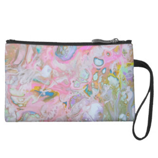 Abstract Mini Clutch with Sueded Fabric