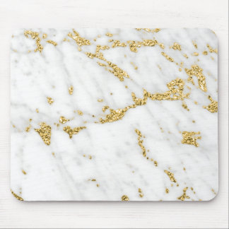 Abstract Minimal Gold White Gray Carrara Marble Mouse Pad