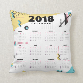 Abstract Minimalist 2018 Calendar | Throw Pillow