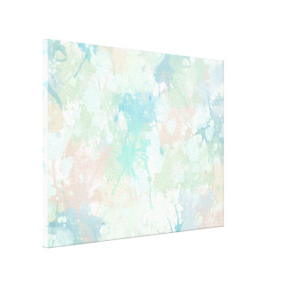Abstract Mint Blue Watercolor Splashes Canvas Print