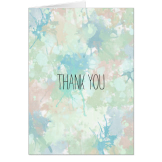 Abstract Mint Blue Watercolor Splashes Thank You Card