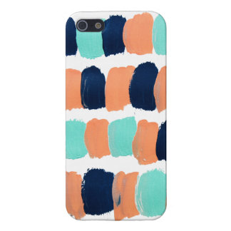 Abstract Mint, Navy, Coral Painting iPhone 5 Cover