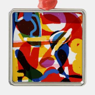Abstract Mod World Silver-Colored Square Ornament