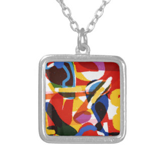 Abstract Mod World Silver Plated Necklace