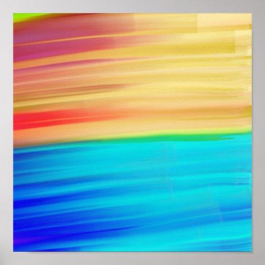 Abstract modern aqua orange watercolor brushstroke poster