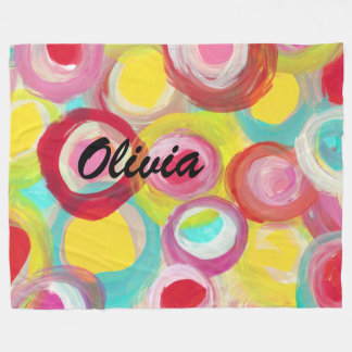 Abstract Modern Art Circle Painting Personalized Fleece Blanket