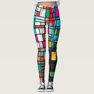 Abstract Modern Art Grid Pattern Leggings