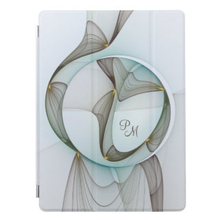 Abstract Modern Art Turquoise Brown Gold Monogram iPad Pro Cover