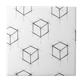 Abstract modern blueprint style cubic boxes ceramic tiles