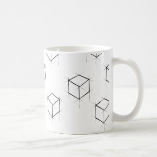 Abstract modern blueprint style cubic boxes coffee mug
