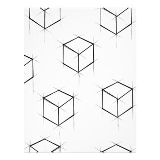 Abstract modern blueprint style cubic boxes letterhead