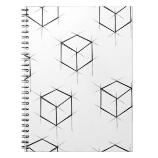 Abstract modern blueprint style cubic boxes notebooks