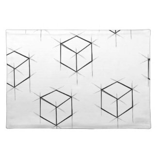 Abstract modern blueprint style cubic boxes placemat