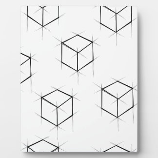 Abstract modern blueprint style cubic boxes plaque