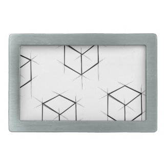 Abstract modern blueprint style cubic boxes rectangular belt buckle